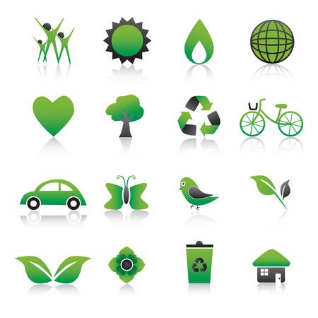 car leaf: Set of environmental green icons Illustration.  Illustration
