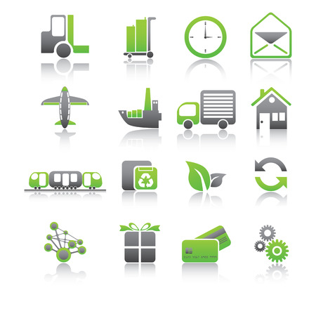 Set of shipping and freight green icons. Vector