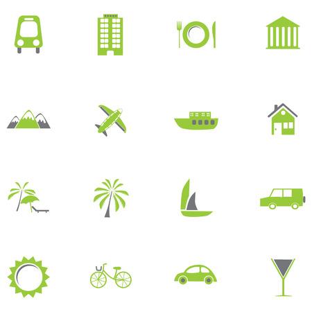 Set of green travel icons Illustration.