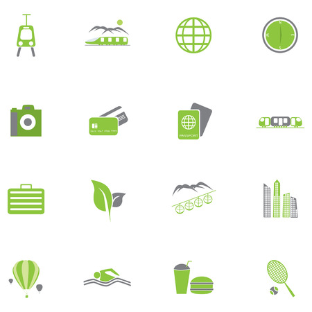 Set of green travel icons Illustration. Vector