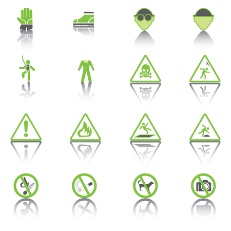 Set Simple of Warning Hazard Signs, Green Icons. Vector