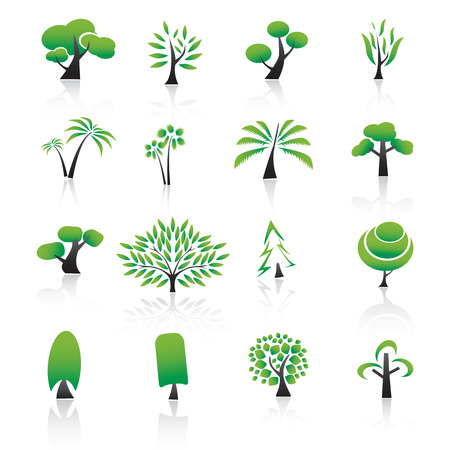 Collection of tree design elements Icons set.  Ilustração