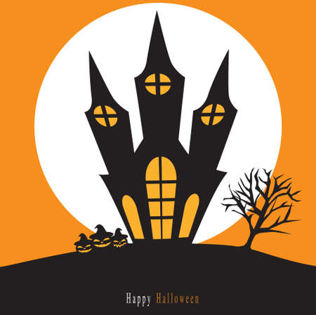 spooky house: Spooky Halloween background