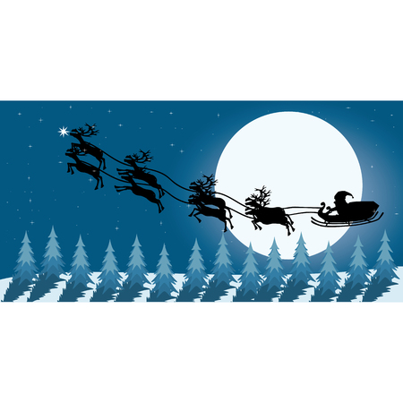 white bacjground: Santa claus with christmas day on the night background Vector illustration  Illustration