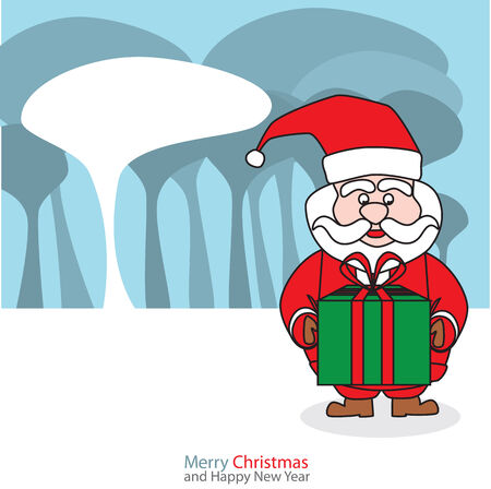 white bacjground: Santa claus with christmas day on the night background Vector illustration. Illustration