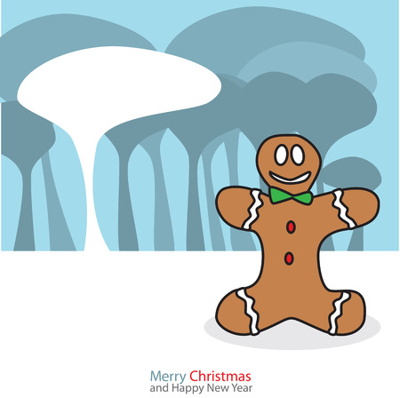 Gingerbread man with christmas day on the night background Vector illustration. Stock Vector - 23321024