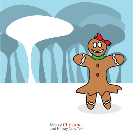 Gingerbread woman with christmas day on the night background Vector illustration. Vector