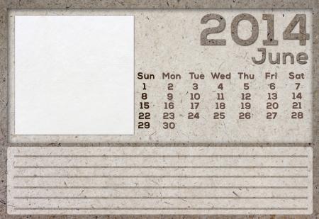 2014 Calendar White Mulberry Paper Texture. photo