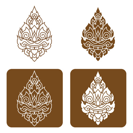 siam: Artistic of traditional line thai Vector illustration. Illustration