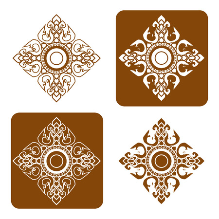 thai style: Line Thai art pattern vector illustration.