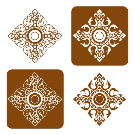 bouddhisme: Motif d'art en ligne Thai illustration vectorielle.