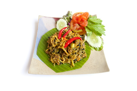 Ho curry  gaeng ho  Frieding curry with ,pork, bamboo root, vermicelli, vegetable, and spicy herb  photo