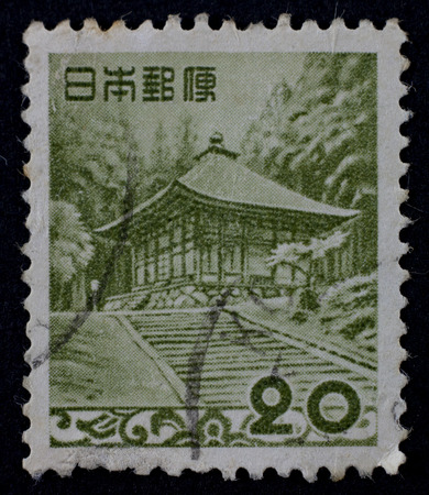 JAPAN - CIRCA 1980: A stamp shows image of the dedicated to the Japanese temple, printed in JAPANcirca 1980.