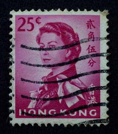 HONG KONG - CIRCA 1962:  Hong Kong stamp shows Queen Elizabeth II printed by Hong Kong, circa 1962.