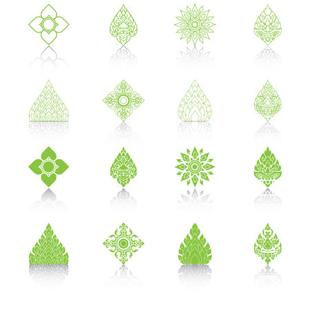 Set of Line Thai Art, Icons Vector Illustration.  Vector