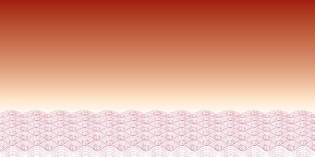 Red waves of sea Line Thai Art Vector Illustration.  Vector