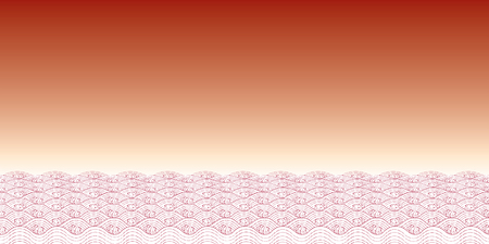 Red waves of sea Line Thai Art Vector Illustration.