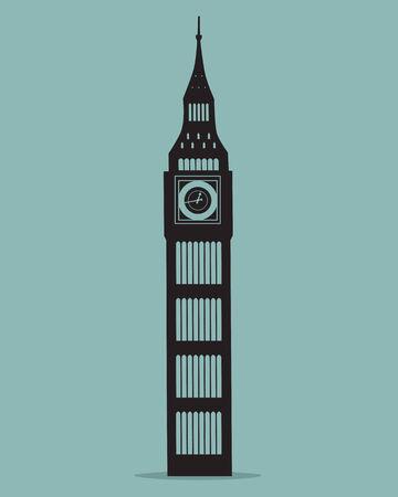 Big Ben london Black Silhouette Vector Illustration