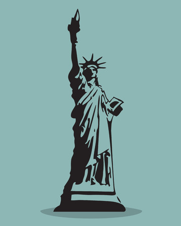 Statue of Liberty Black Silhouette Vector Illustration.  Vector