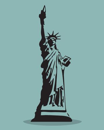 Statue of Liberty Black Silhouette Vector Illustration.  Vector