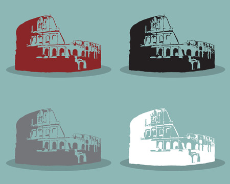 flavian: Set of Colosseum in Rome Black Silhouette Vector Illustration.