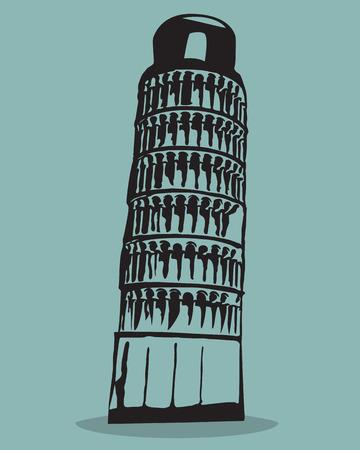 Pisa tower Black Silhouette Vector Illustration.