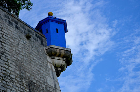 embrasure: Blue embrasure in the Bastille Grenoble, France. Stock Photo