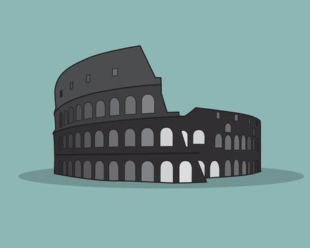 flavian: Colosseum in Rome Black Silhouette Vector Illustration.