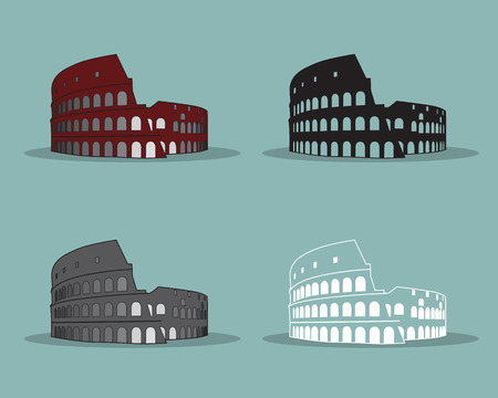 Colosseum in Rome Black Silhouette Vector Illustration.  Vector
