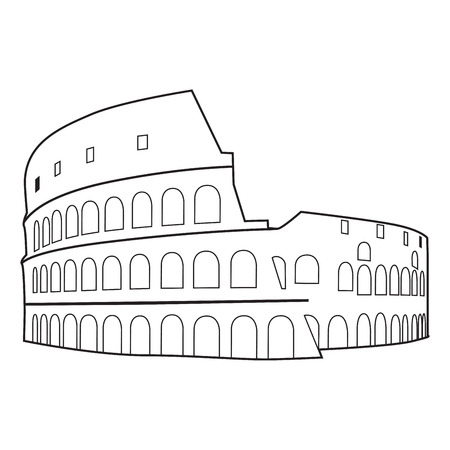 flavian: Colosseum in Rome Black Silhouette Vector Illustration. Illustration
