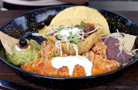 Variants of using traditional tortillas in meals (Mexican food). photo