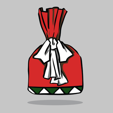 Red present with green bow, vector illustration. Illustration
