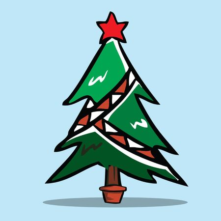 cartoon trees: Christmas tree, Vector illustration.