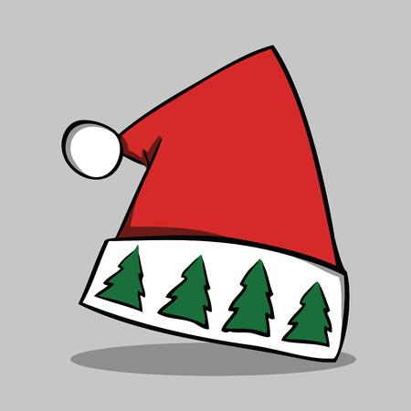 Santa hat, vector illustration.