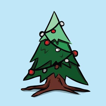 Christmas tree, Vector illustration.