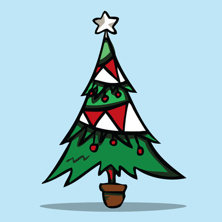Christmas tree, Vector illustration.