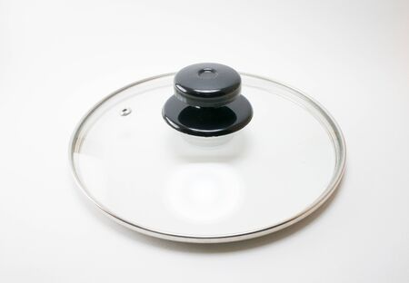 Glass lid from a pot, black plastic handle,small hole for vapour.