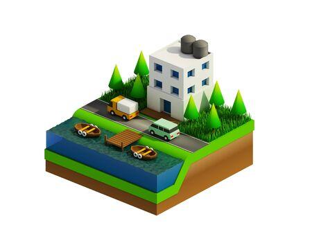 planos electricos: isométrica edificios de la ciudad Paisaje del camino y el río