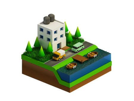 landscape road: isometric city buildings landscape Road and river