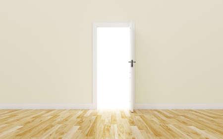 Opened White Door on brown Wall Wood Floor photo