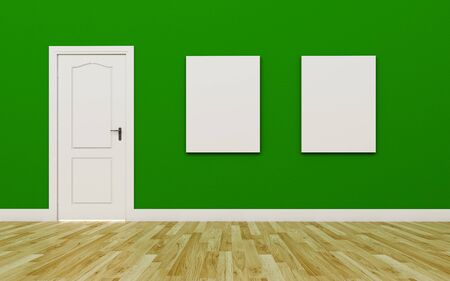 white wood floor: Closed White Door on Green Wall  two blank poster  Wood Floor