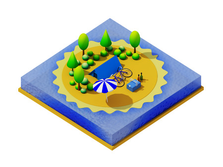 Isometric camping on the beach photo