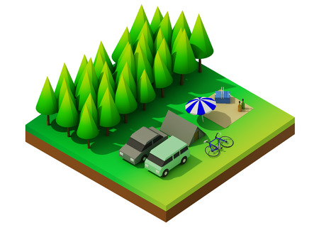 Isometric forest camping photo