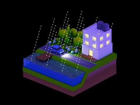 planos electricos: isométrica edificios de la ciudad Paisaje del camino y el río escena nocturna de llover