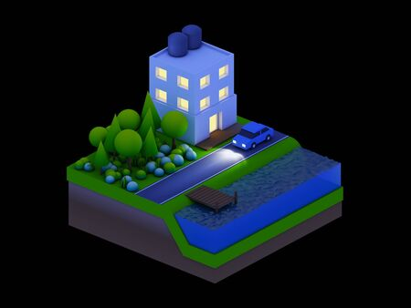 isometric city buildings landscape Road and river night scene photo