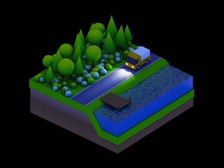 landscape road: isometric city buildings, landscape, Road and river, night scene