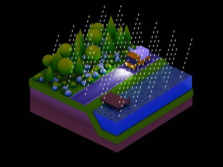planos electricos: isometric city buildings, landscape, Road and river, night scene, raining