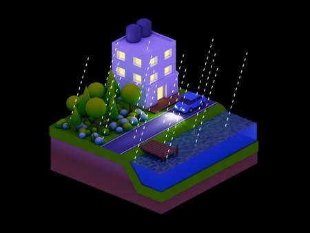 landscape road: isometric city buildings, landscape, Road and river, night scene, raining