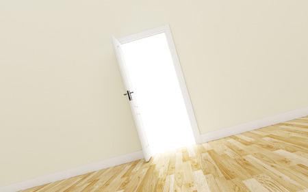 white wood floor: Opened White Door on brown Wall, Wood Floor