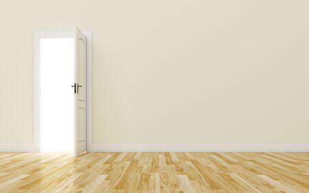 open gate: Opened White Door on brown Wall, Wood Floor